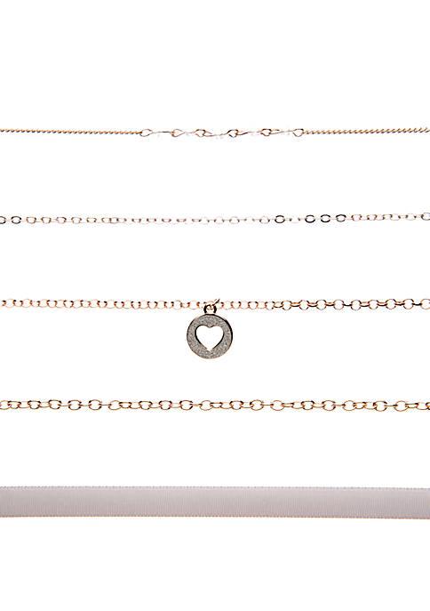 5 Piece Choker Necklace Set with Cutout Circle Charm