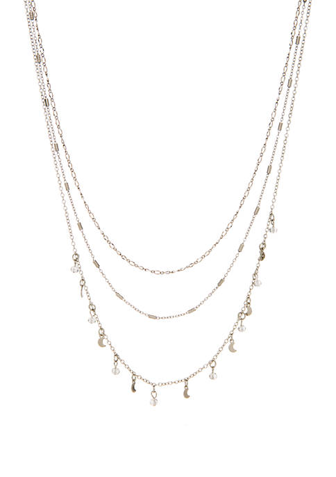 3 Row Necklace with Beads and Crescent Moons