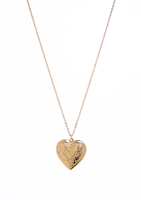 Womens Pendant Necklace Engraved Heart Locket