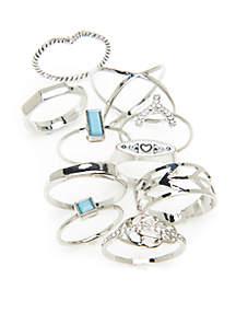 10-Piece Silver-Tone Ring Set