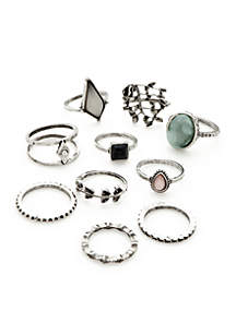 10-Piece Single Ring Set With Stones