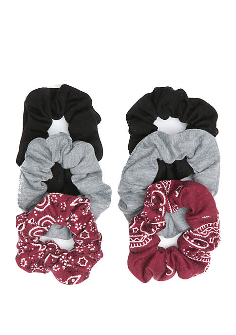 Bandana Print and Solid Twister Scrunchies Set