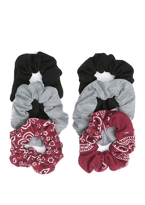 Belk Bandana Print and Solid Twister Scrunchies Set