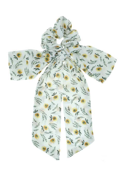 Sunflower with Vine Print Chiffon Fabric Hair Twist