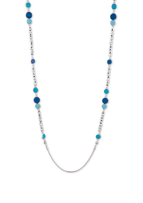 Long Silver Tone Strandage Necklace