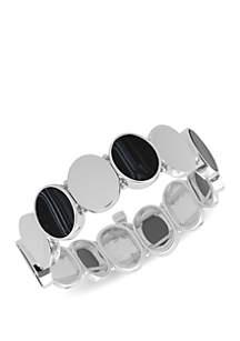 Nine West Silver Tone and Open Link Stretch Bracelet