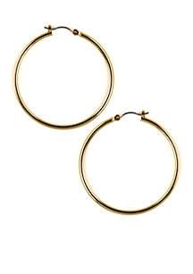 Pierced Gold Hoop Earrings