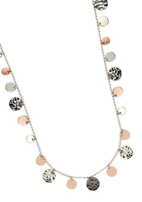 Nine West Long Length Tri-Color Disc Charm Necklace