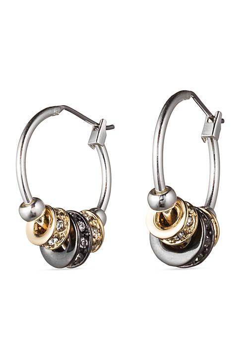 Slider Tri Tone Hoop Earrings