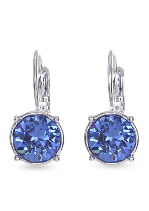 Blue Silver Medium Drop Lever Back Earring