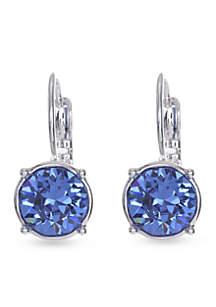 Blue Silver Medium Drop Leverback Earring