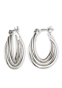 Silver-Tone Small Twist Hoop Earrings