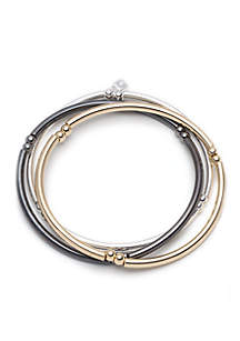 Three Tri-tone Metal Stretch Bracelets