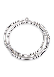 Silver-Tone Set Of 3 Stacking Bangle Bracelets