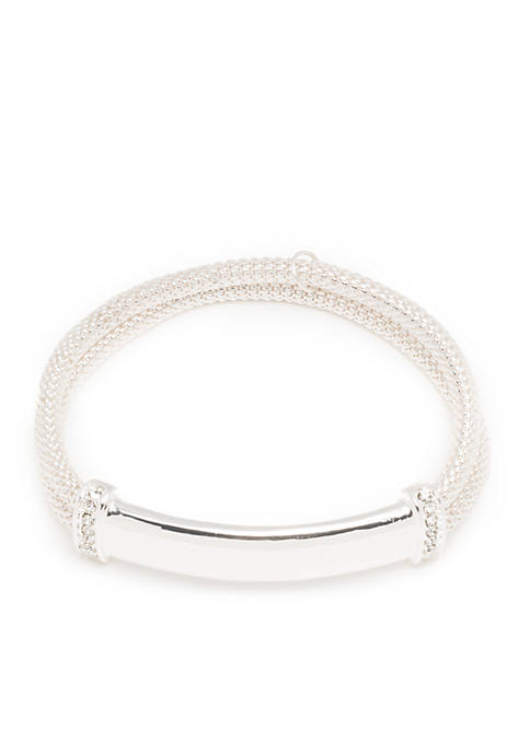 Silver-Tone Bar Stretch Boxed Bracelet