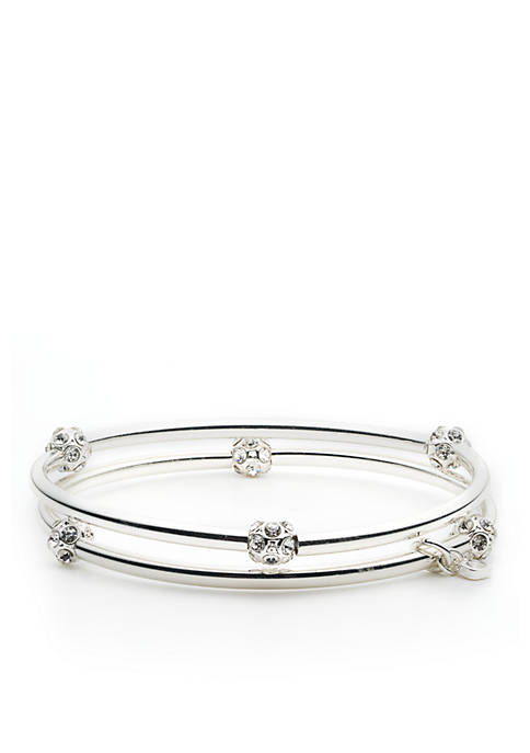 Silver-Tone 2 Stretch Bangles Boxed Gift Set