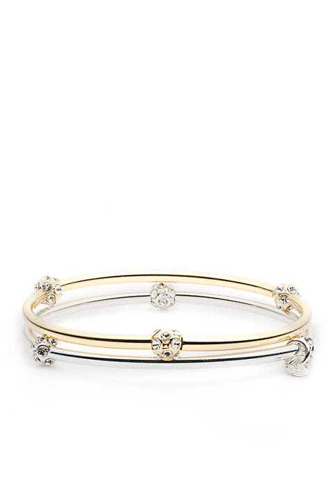 Two-Tone 2 Stretch Bangle Boxed Gifting Set