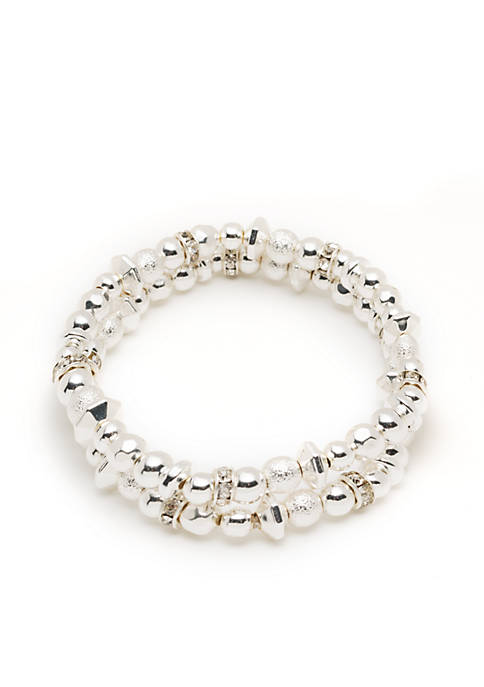 Nine West Silver-Tone 2 Stretch Boxed Bracelet Set