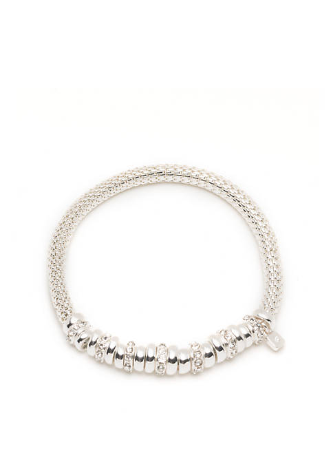 Nine West Silver-Tone Rondel Stretch Boxed Bracelet
