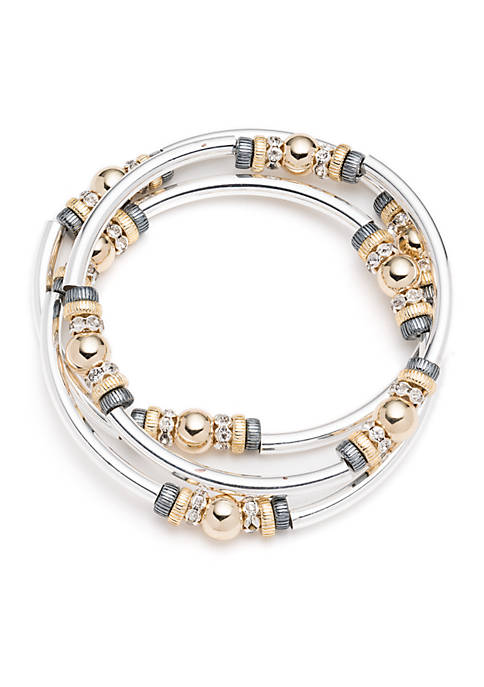 Set of 3 Tri Tone Mingle Stretch Bangle Bracelets