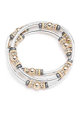 Nine West Tri-Tone Metal Mingle Set of Three Stretch Bangle Bracelets ... 4f490ce0ca30
