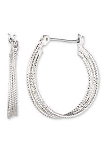 Silver-Tone Heavy Metal Ears Medium Hoop Earrings