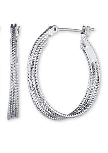 Hematite-Tone Heavy Metal Ears Medium Hoop Earrings