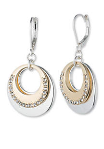 Tri-Tone Ring Around Double Round Disc Drop Earrings