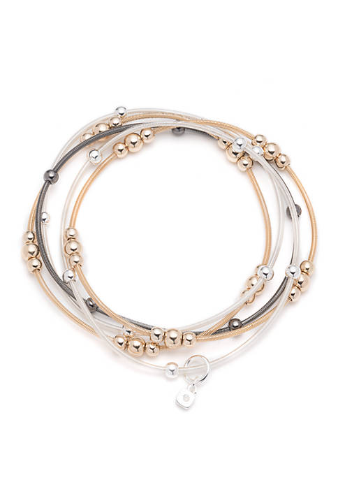 Tri Tone Basic Update 5 Row Stretch Bracelet Set