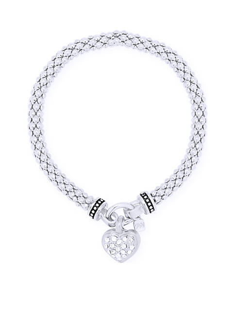 Nine West Silver-Tone Pave Heart Stretch Boxed Bracelet