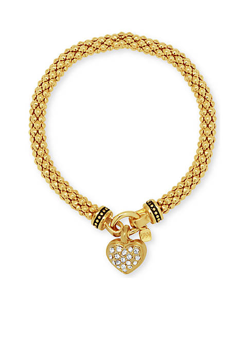 Gold-Tone Pave Heart Stretch Boxed Bracelet