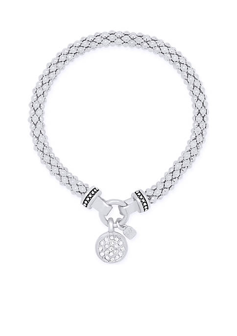 Nine West Silver-Tone Pave Circle Stretch Boxed Bracelet