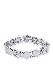 Silver-Tone Stretch Crystal Boxed Bracelet