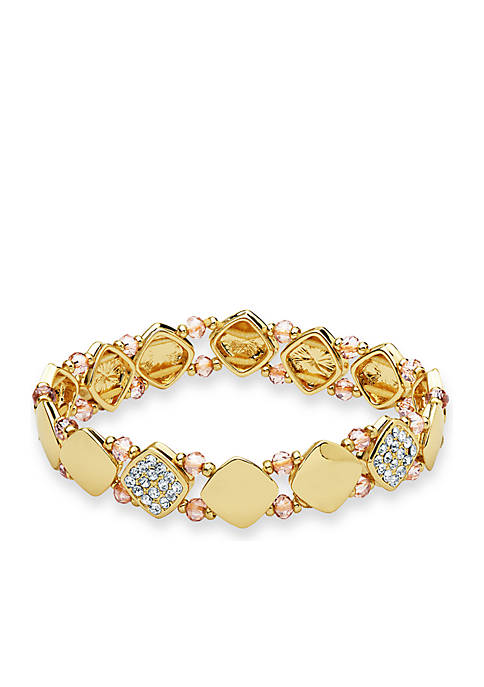 Gold-Tone Stretch Crystal Boxed Bracelet