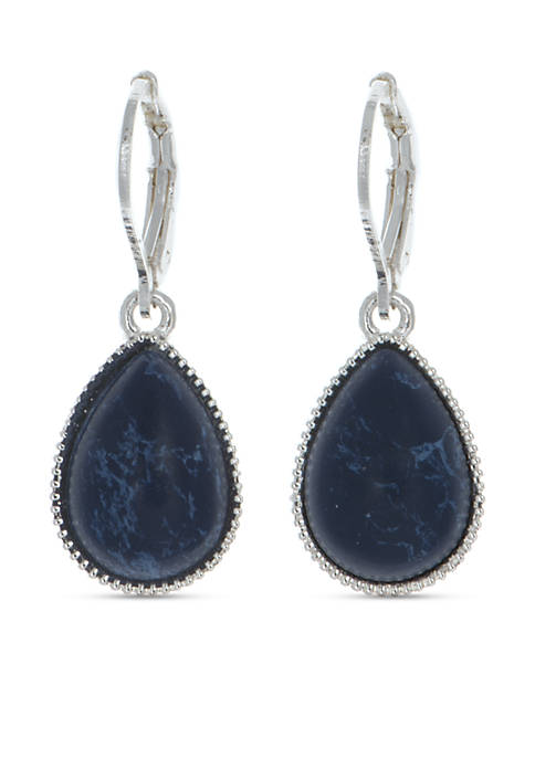 Silver-Tone NW Denim Basics Teardrop Drop Earrings