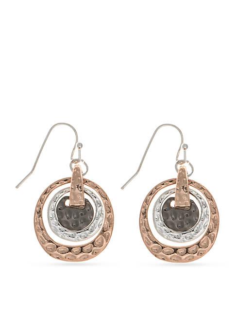 Tri-Tone Metal Basics Orbital Drop Earrings