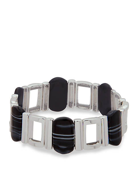 Nine West Silver-Tone Set To Shine Stretch Bracelet
