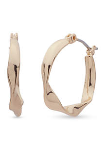 Gold-Tone With A Twist Hoop Earrings