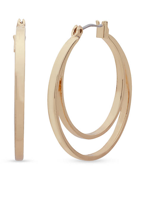 Nine West Gold-Tone Looped In Double Row Hoop