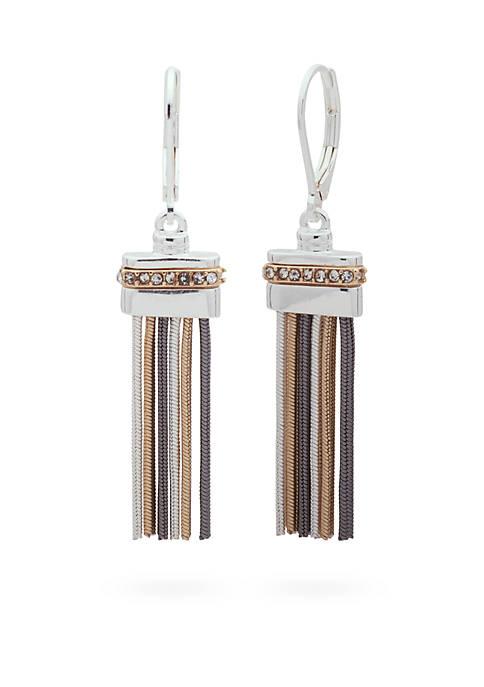 Nine West Tri-Tone Luxe Links Tassel Drop Earrings