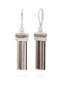 Tri-Tone Luxe Links Tassel Drop Earrings