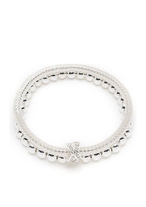 Nine West Silver-Tone 2 Row Stretch Boxed Bracelet