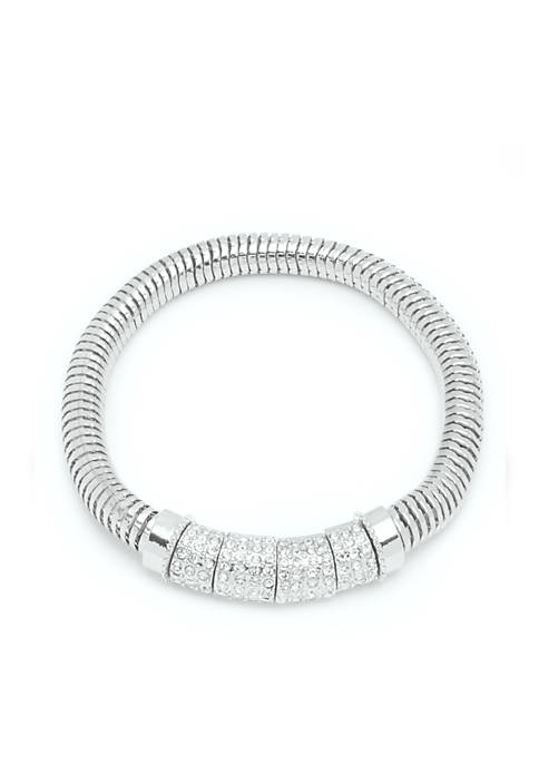 Nine West Silver-Tone Pave Stretch Boxed Bracelet