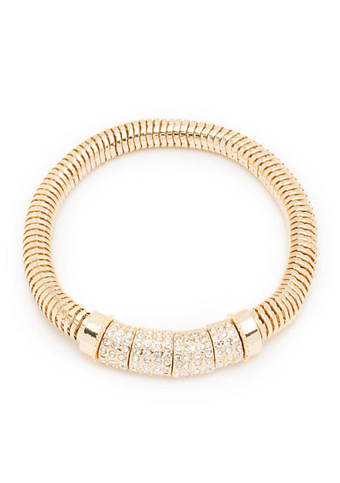 Nine West Gold-Tone Pave Stretch Boxed Bracelet