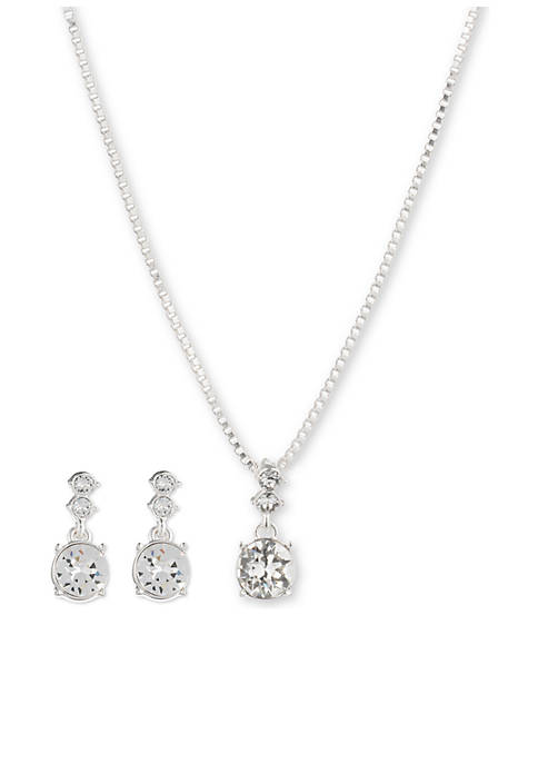 Silver-Tone Crystal Earring Pendant Necklace Boxed Set