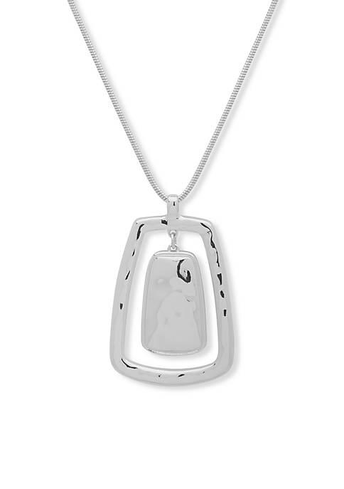 Nine West Silver-Tone Modern Metals Pendant Necklace