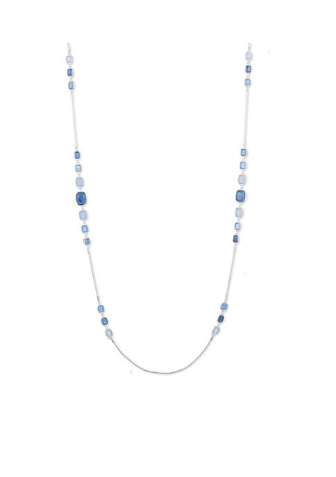 Nine West Silver-Tone Shape Up Blue Strandage Necklace