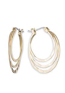 Gold-Tone Spring Metal Earrings Hoop Earrings