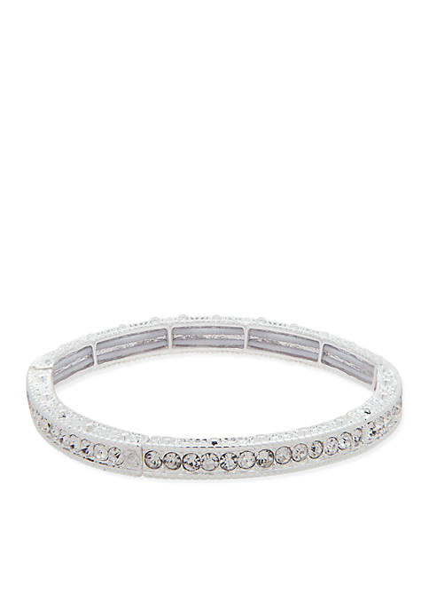 Nine West Silver-Tone Crystal Stretch Boxed Bracelet