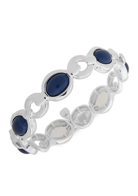 Nine West Denim Dreams Silver-Tone Stretch Bracelet